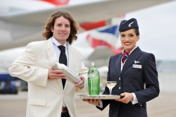 JAMES FOWLER THE WORLD CLASS UK BARTENDER OF THE YEAR STEPS OFF THE BRITISH AIRWAYS A380 FROM HONG KONG AFTER SHAKING COCKTAILS AT 35,000