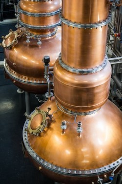 The historical Dakin Stills used in the unique Vapour Infusion process at Laverstoke Mill