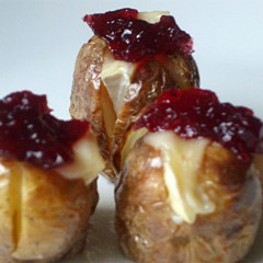 Mini Baked Potatoes with Brie and Red Onion Marmalade