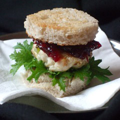 Mini Turkey Burgers with Cranberry and Sloe Gin Sauce